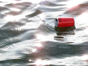 Floating Soda Can in Missouri River